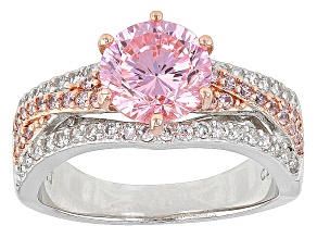 Pink And White Cubic Zirconia Rhodium Over Sterling Silver Ring 4.23ctw