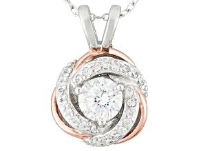 White Cubic Zirconia Rhod And 18k Rg Over Silver Pendant With Chain .91ctw