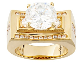 White Cubic Zirconia 18k Yellow Gold Over Silver Ring 6.70ctw