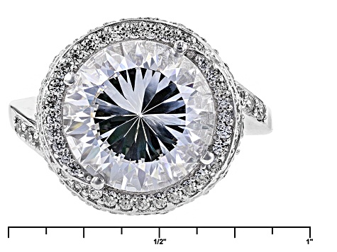 White Cubic Zirconia Rhodium Over Sterling Silver Ring 13.23ctw
