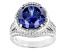 Blue And White Cubic Zirconia Rhodium Over Silver Ring 11.57ctw
