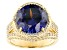 Blue And White Cubic Zirconia 18K Yellow Gold Over Silver Ring 11.57ctw