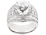 White Cubic Zirconia Rhodium Over Silver Ring 7.84ctw