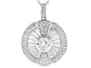 Cubic Zirconia Silver Pendant With Chain 5.38ctw (4.28ctw DEW)