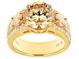 Brown And White Cubic Zirconia 18k Yellow Gold Over Silver Ring 8.18ctw (5.33ctw DEW)