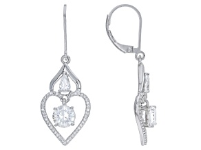 Cubic Zirconia Rhodium Over Silver Heart Earrings 3.84ctw (2.39ctw DEW)