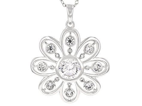 Cubic Zirconia Silver Pendant With Chain 3.06ctw (2.60ctw DEW)