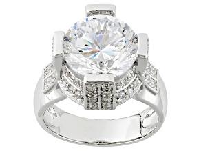 Cubic Zirconia Silver Ring 9.87ctw (5.59ctw DEW)