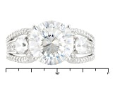 Cubic Zirconia Rhodium Over Sterling Silver Ring 7.72ctw (4.83ctw DEW)