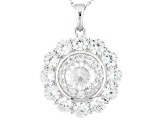 Cubic Zirconia Silver Pendant With Chain 7.71ctw (4.64ctw DEW)