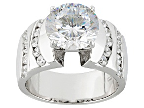 Cubic Zirconia Rhodium Over Sterling Silver Ring 7.20ctw (4.47ctw DEW)