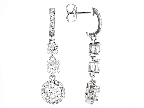 Cubic Zirconia Silver Earrings 8.91ctw (3.34ctw DEW)