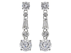 Cubic Zirconia Silver Earrings 4.14ctw (2.41ctw DEW)