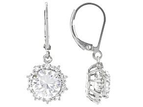 Cubic Zirconia Silver Earrings 6.96ctw (4.48ctw DEW)