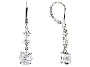 Cubic Zirconia Silver Earrings 6.98ctw (4.42ctw DEW)