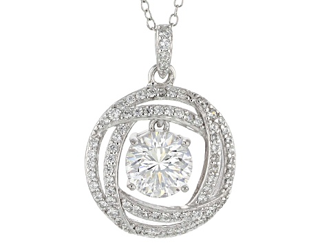 Cubic Zirconia Silver Pendant With Chain 2.78ctw (1.67ctw DEW)