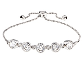 Cubic Zirconia Silver Sliding Adjustable Bracelet 3.95ctw (2.48ctw DEW)