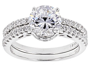 Cubic Zirconia Silver Ring With Band 4.26ctw (2.84ctw DEW)