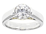 Cubic Zirconia Silver And 18k Yellow Gold Over Silver Ring 3.15ct (2.04ct DEW)