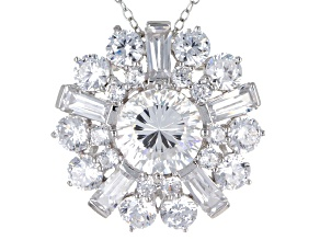 Cubic Zirconia Silver Pendant With Chain 8.13ctw (5.04ctw DEW)