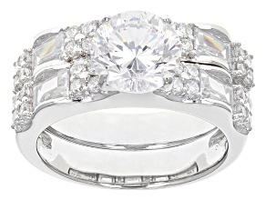 Cubic Zirconia Silver Ring With Band 6.11ctw (4.02ctw DEW)