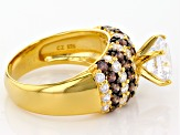 White And Brown Cubic Zirconia 18k Yellow Gold Over Silver Ring 6.31ctw (3.60ctw DEW)