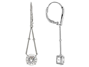 Cubic Zirconia Silver Earrings 4.56ctw (2.71ctw DEW)
