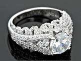 Cubic Zirconia Rhodium Over Sterling Silver Ring 5.52ctw (3.42ctw DEW)