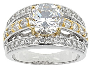 Cubic Zirconia Silver And 18k Yellow Gold Over Silver Ring 6.58ctw (3.79ctw DEW)