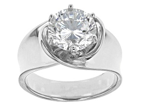 Cubic Zirconia Rhodium Over Sterling Silver Ring 4.59ct (2.75ct DEW)