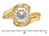 Cubic Zirconia 18k Yellow Gold Over Silver Ring 3.36ctw (2.18ctw DEW)