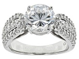 White Cubic Zirconia Rhodium Over Sterling Silver Ring 6.03ctw