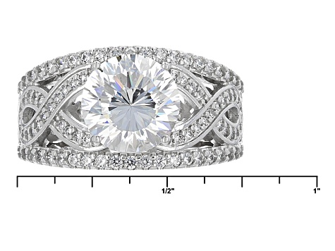 White Cubic Zirconia Rhodium Over Sterling Silver Ring 5.55ctw