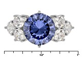 Blue And White Cubic Zirconia Rhodium Over Sterling Silver Ring 8.55ctw