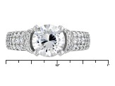 White Cubic Zirconia Rhodium Over Sterling Silver Ring 4.42ctw