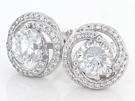 White Cubic Zirconia Rhodium Over Sterling Silver Earrings 3.62ctw
