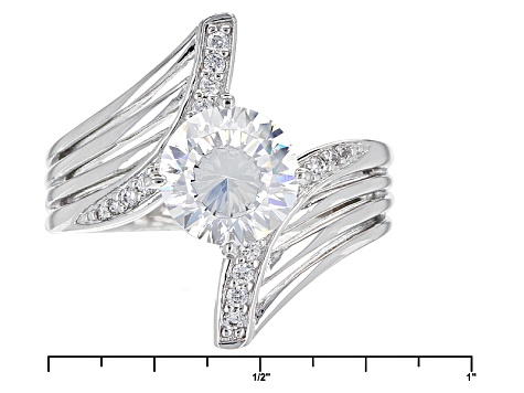 White Cubic Zirconia Rhodium Over Sterling Silver Ring 3.45ctw
