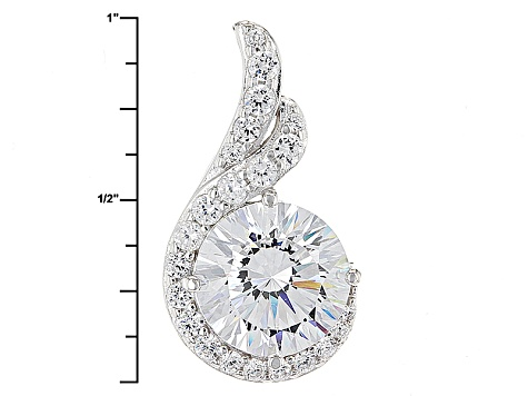 White Cubic Zirconia Rhodium Over Sterling Silver Pendant With Chain 6.84ctw