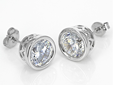 White Cubic Zirconia Rhodium Over Sterling Silver Earrings 6.30ctw
