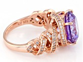 Purple And White Cubic Zirconia 18k Rose Gold Over Sterling Silver Ring 11.10ctw