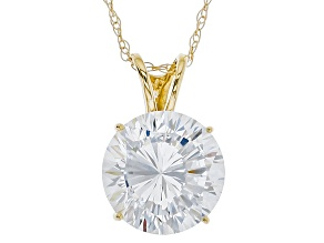 White Cubic Zirconia 14k Yellow Gold Pendant With Chain 4.59ctw