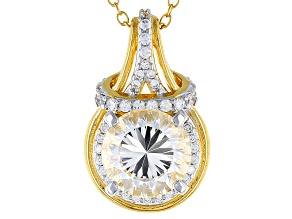 White Cubic Zirconia 18k Yellow Gold Over Sterling Silver Pendant With Chain 5.03ctw