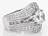 White Cubic Zirconia Rhodium Over Sterling Silver Ring 7.21ctw