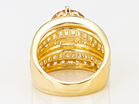 Yellow & White Cubic Zirocnia 18k Yellow Gold Over Sterling Silver Ring 9.36ctw