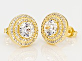 white cubic zirconia 18k yellow gold over sterling silver earrings