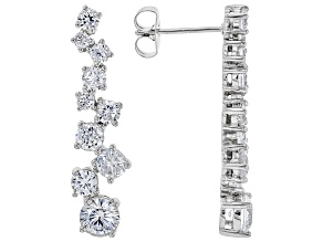White Cubic Zirconia Rhodium Over Sterling Silver Earrings 5.06ctw