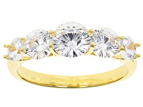 White Cubic Zirconia 18k Yellow Gold Over Sterling Silver Ring 3.92ctw
