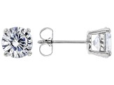 White Cubic Zirconia Rhodium Over Sterling Silver Stud Earrings 4.32ctw