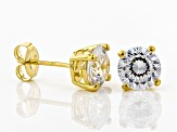White Cubic Zirconia 18k Yellow Gold Over Sterling Silver Stud Earrings 4.32ctw