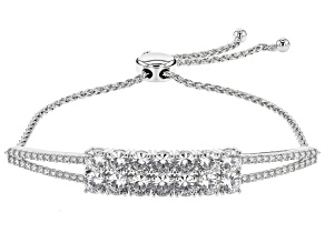 White Cubic Zirconia Rhodium Over Sterling Silver Adjustable Bracelet 7.05ctw